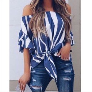 NWT Off The Shoulder Front Tie Top